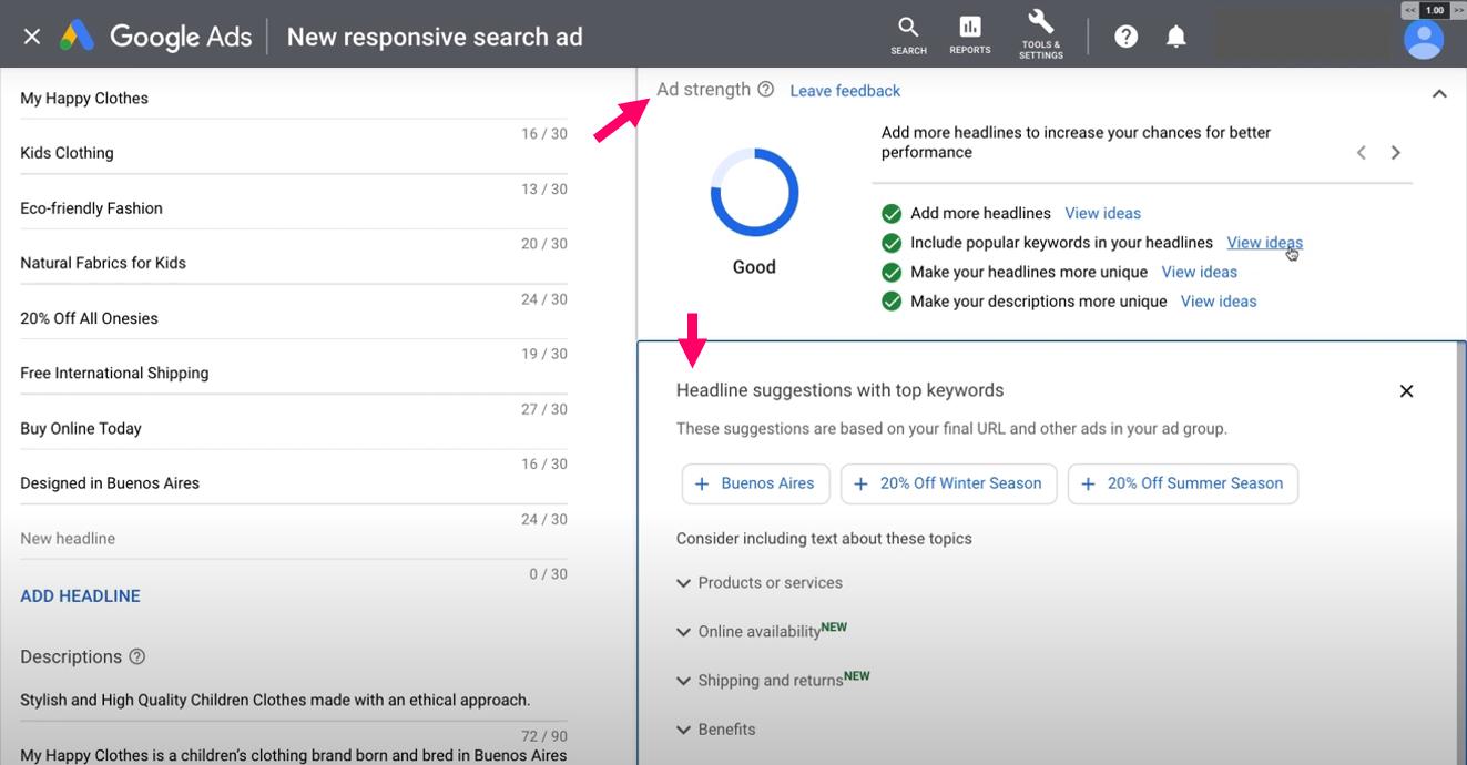 Grava - Google Responsive Ads RSA headline suggestions